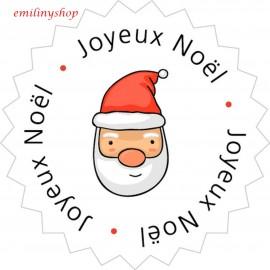 """lot 50 ou 100 etiquettes """"joyeux noel père noel"""""""