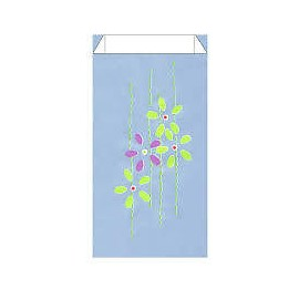 Pochettes cadeaux kraft bleu clair motif fleurs