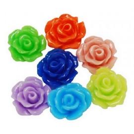 lot de 30 cabochons fleurs en résine